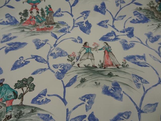 Coton d ameublement imprim tolie de jouy crue bleu rouge for Tissus ameublement marseille